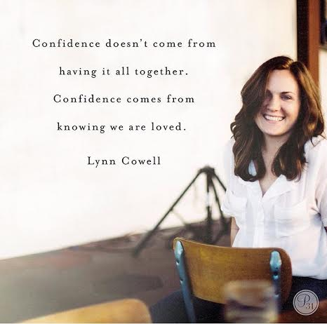 Confidence doesn't come from doing everything right or having it all together. Confidence comes from knowing we are loved. Jesus gave it; we receive it. -