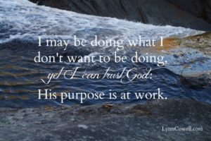 I may be doing what I don't want to be doing now, yet I can trust God's purpose is at work.