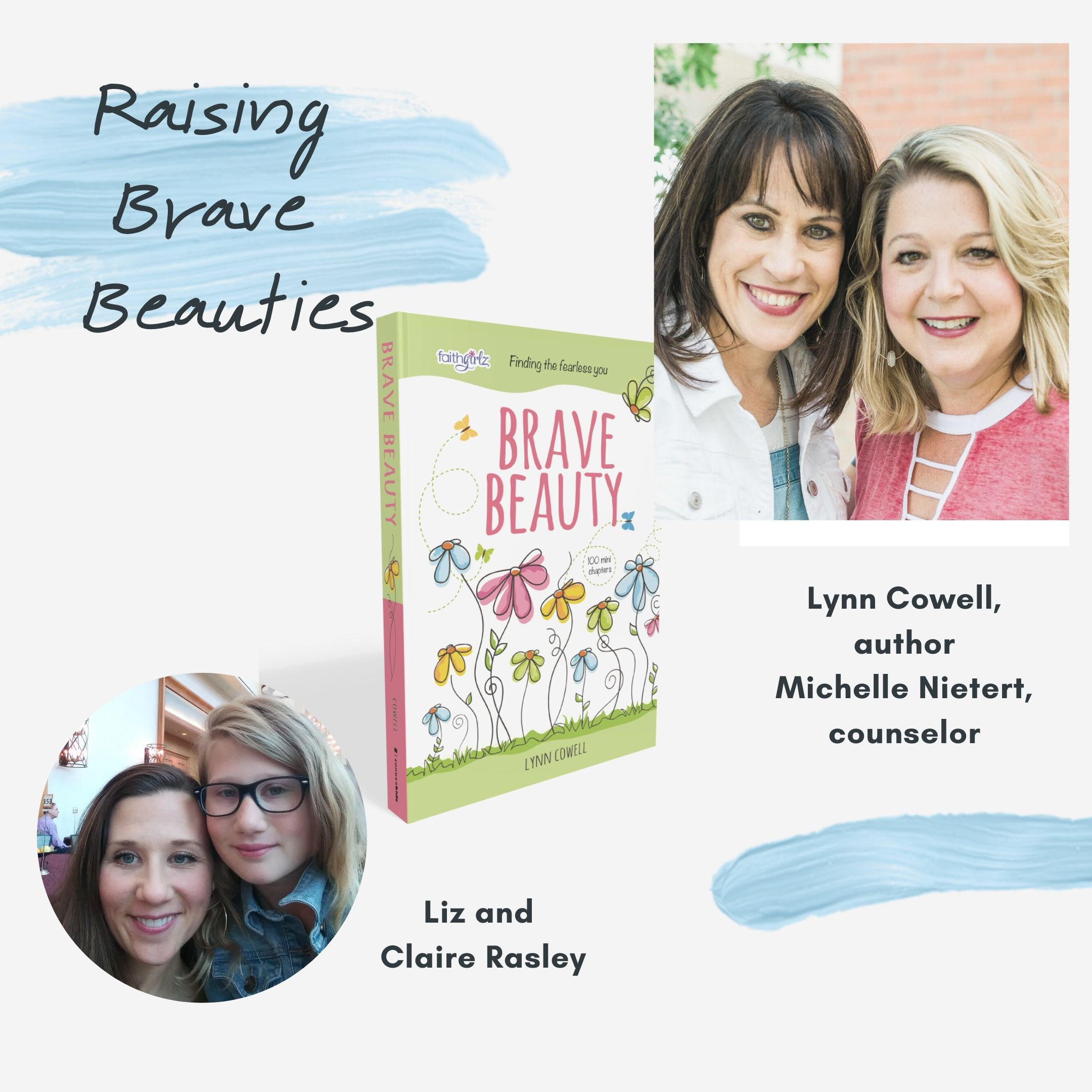 "Taking risks and leaps of faith. This week on Raising Brave Beauties, we're are joined by Liz Rasley and her daughter Claire for a motivating episode on growing up and taking positive risks.   Liz is the author of ""Levity: Humor and Help for Hard Times"" and a preschool teacher! She can be found at her blog www.lizrasley.com.    We're talking about:  *Having an artistic, creative mom * How to listen more and talk less *Taking risks that allow your child to grow * God made you as you are for a reason and you are His creation"